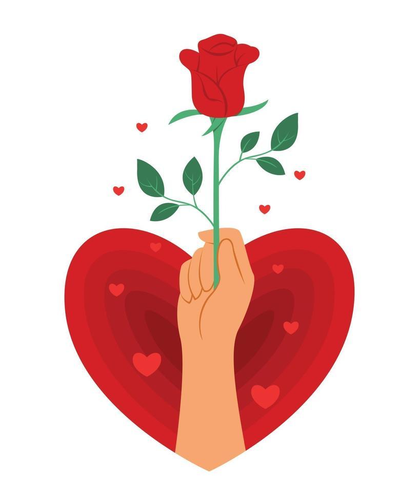main tient une rose rouge en forme de coeur pour la décoration de la Saint-Valentin. vecteur