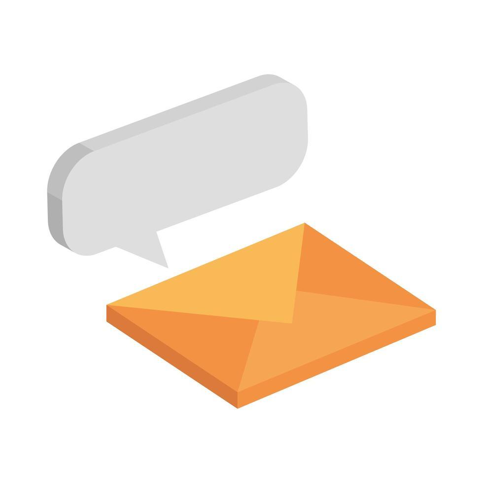 enveloppe mail avec icône isolé de bulle de dialogue vecteur
