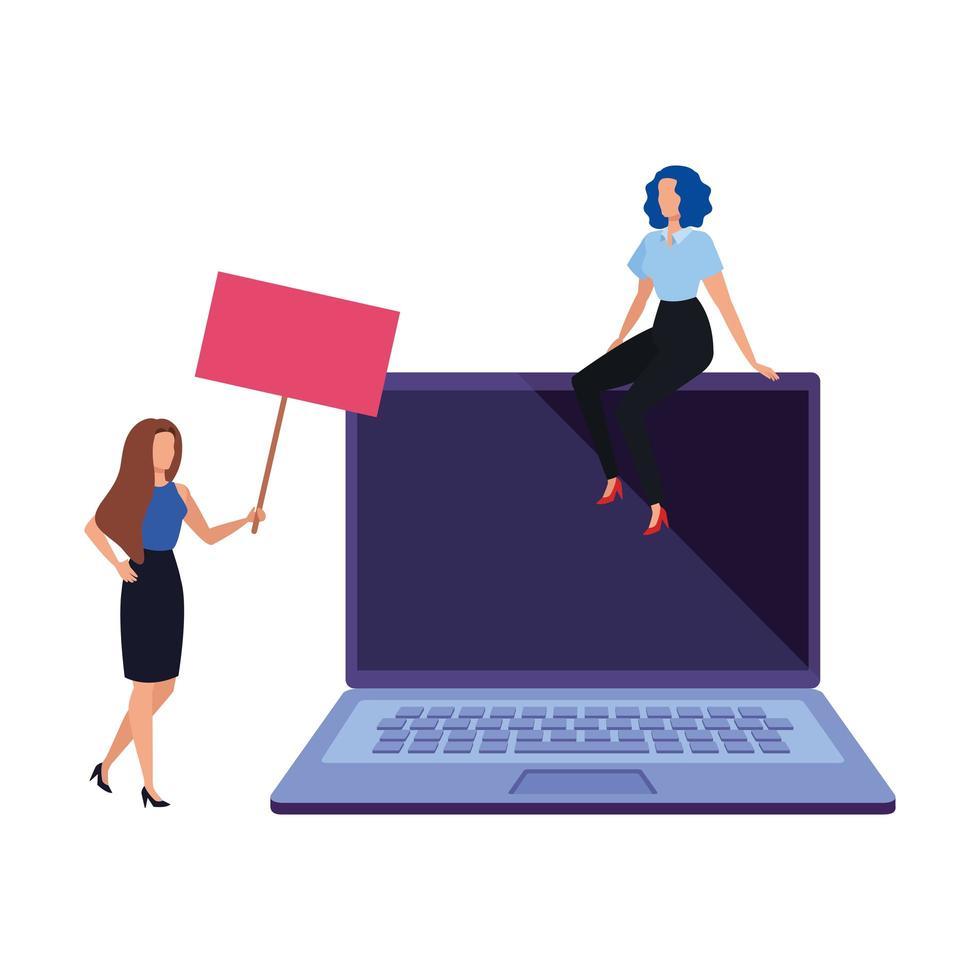 femmes d & # 39; affaires avec personnage avatar ordinateur portable vecteur