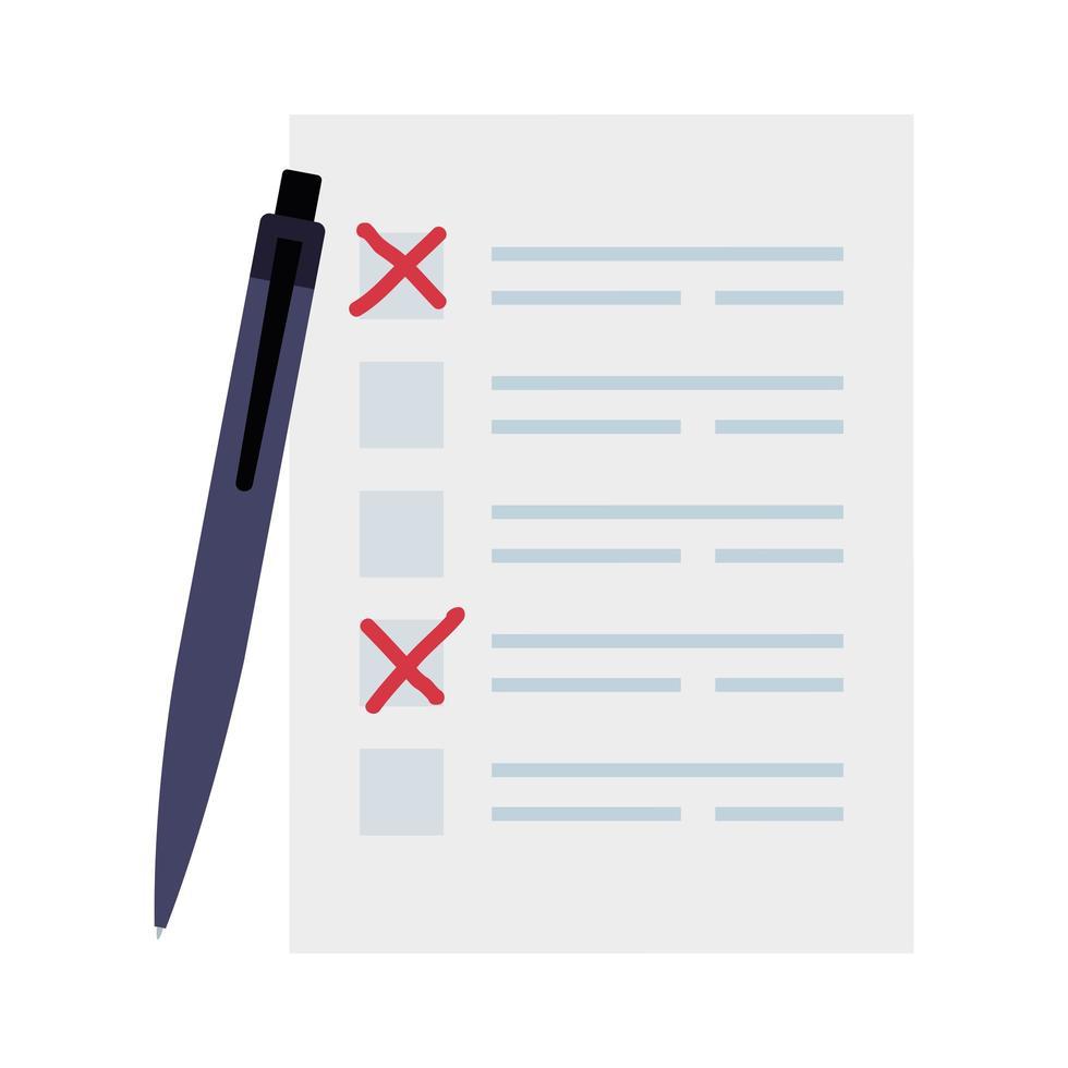 Formulaire de vote avec icône isolé stylo vecteur