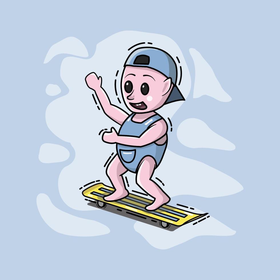 un joli petit garçon joue à la planche à roulettes vecteur