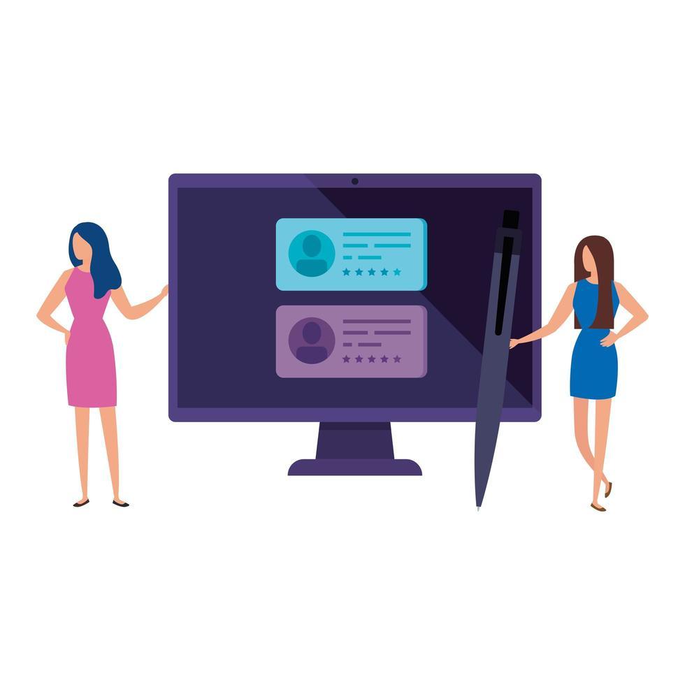 femmes d & # 39; affaires avec ordinateur pour voter en ligne vecteur