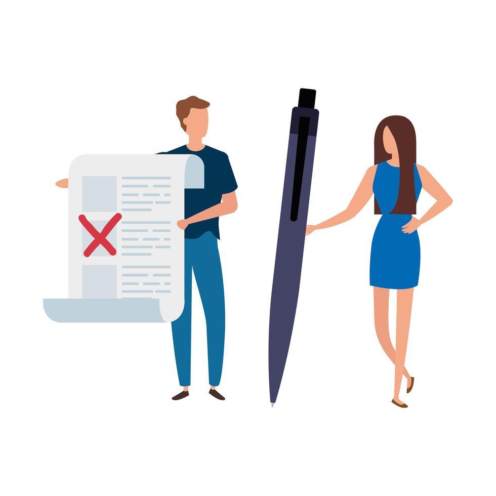 couple avec formulaire de vote et icône isolé stylo vecteur