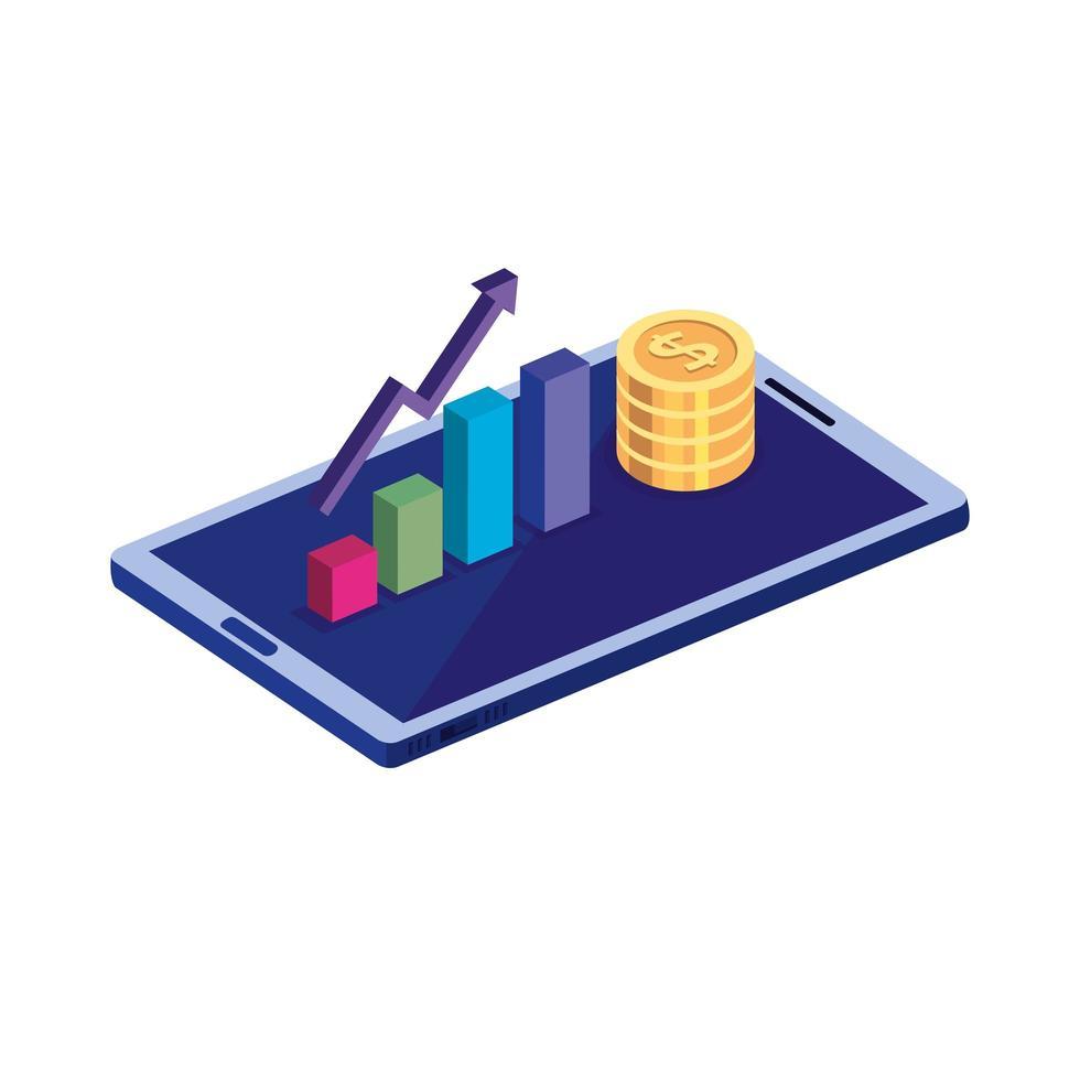 smartphone avec des pièces de monnaie et infographie vecteur