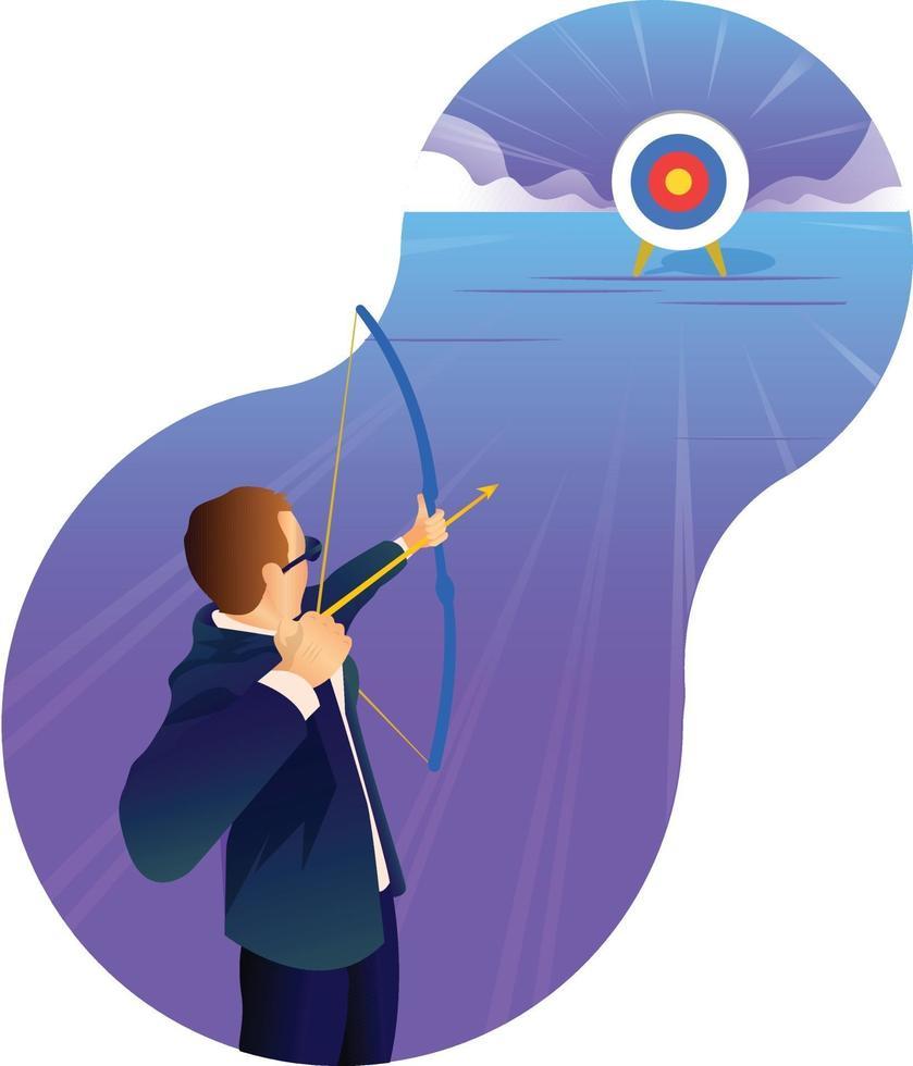 objectif et cible de l'homme d'affaires vecteur