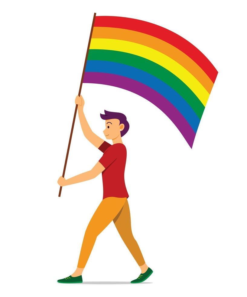 homme tient le drapeau arc-en-ciel pour le mouvement lgbt. vecteur