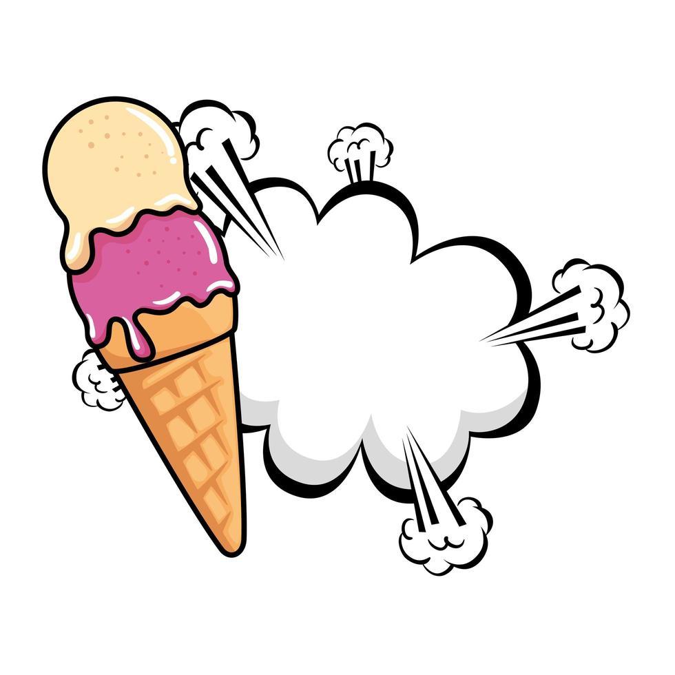 délicieuse glace avec icône de style pop art explosion de nuage vecteur