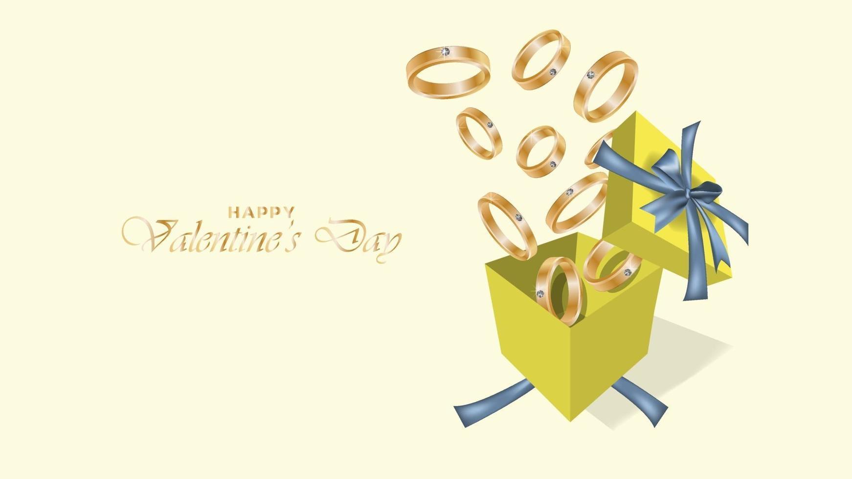 joyeux fond de Saint Valentin avec des objets de conception de bague et de coffret cadeau réalistes vecteur