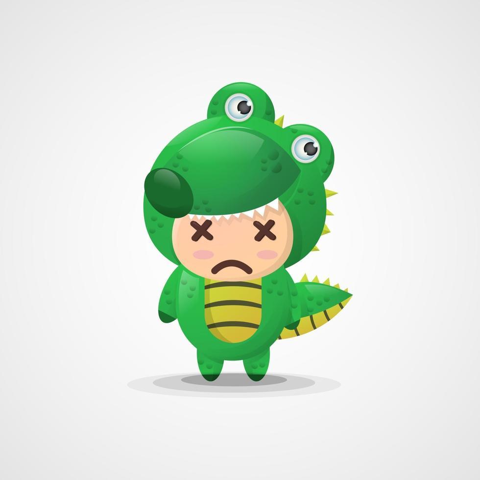 mascotte de crocodile de dessin animé mignon vecteur