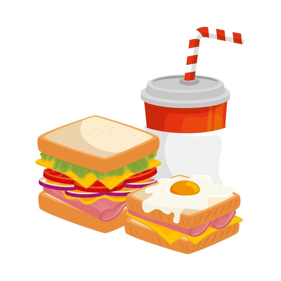 délicieux sandwiches aux oeufs frits et boisson icône isolé vecteur