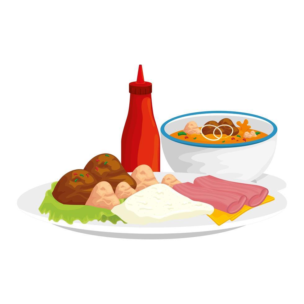 sauces en bouteille avec des plats de nourriture vecteur