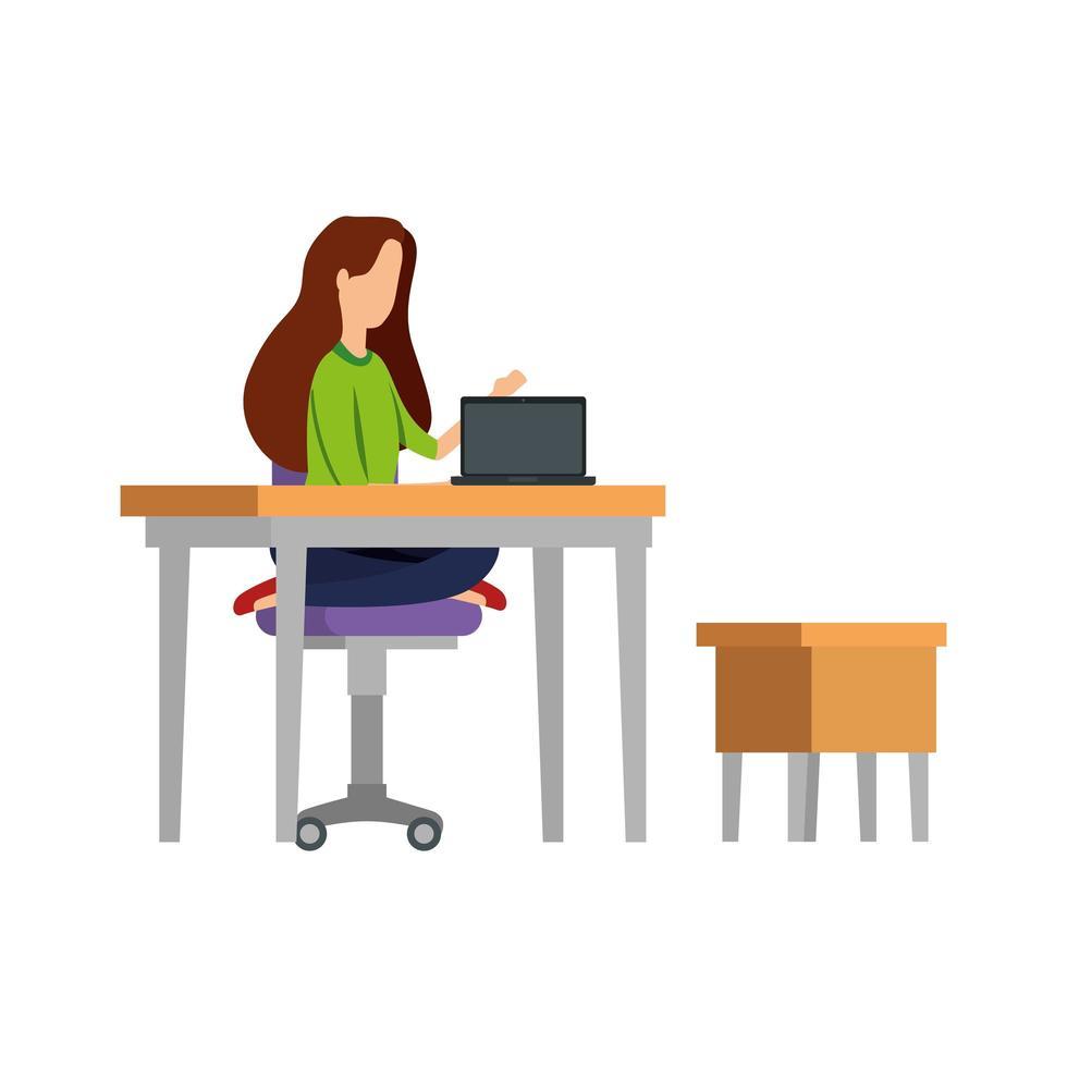 élégante femme d'affaires travaillant dans un ordinateur portable avec tiroir vecteur