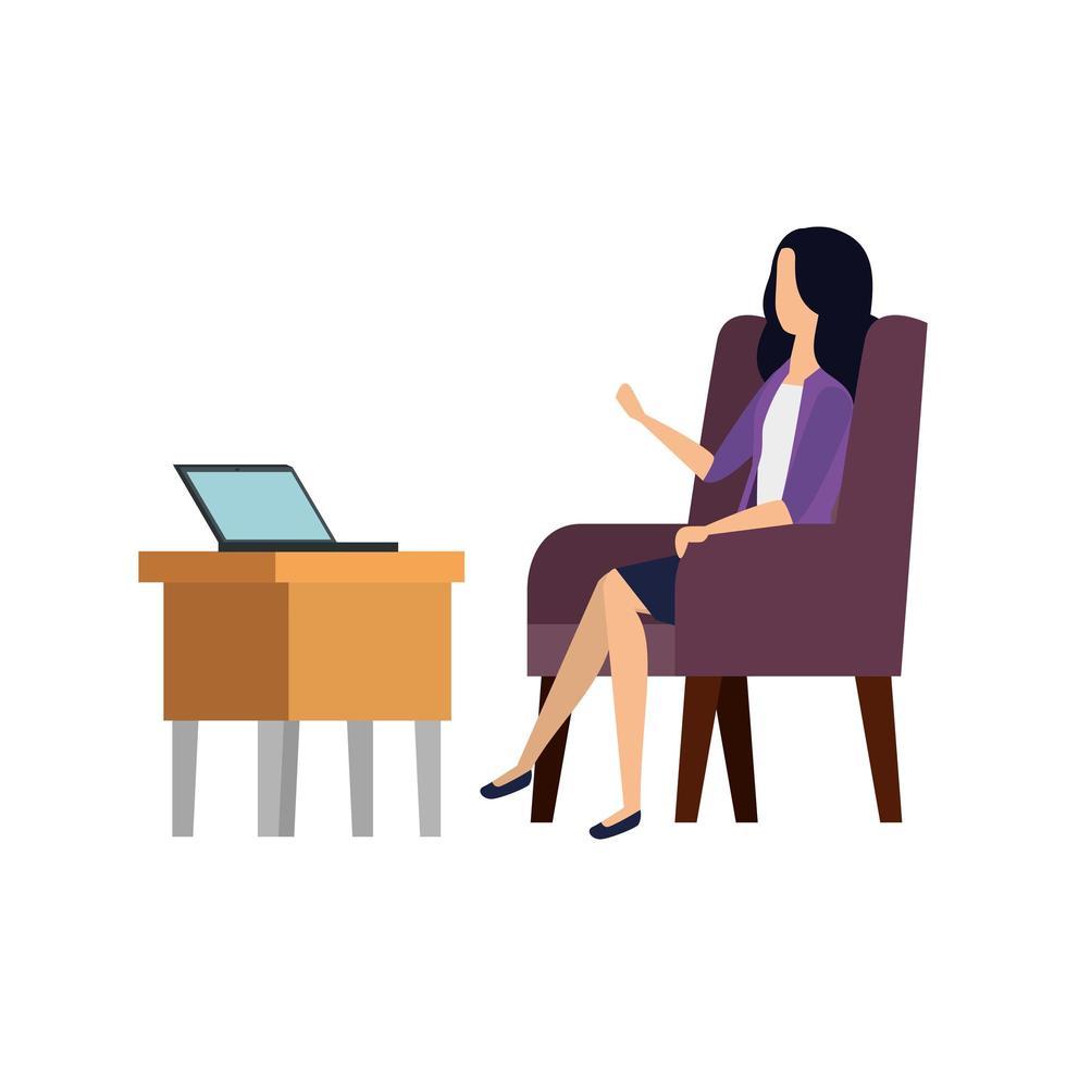 femme d'affaires travailleur dans le canapé à l'aide d'un ordinateur portable vecteur