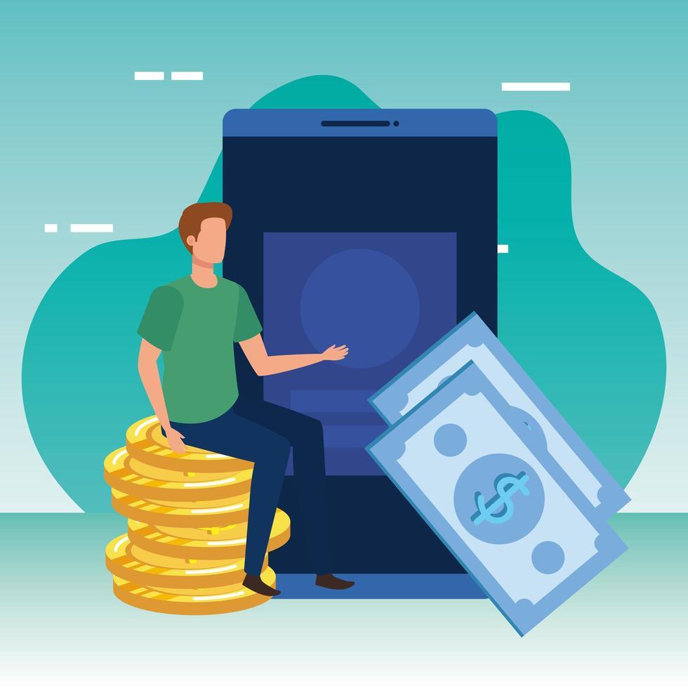 jeune homme avec caractère smartphone et argent vecteur