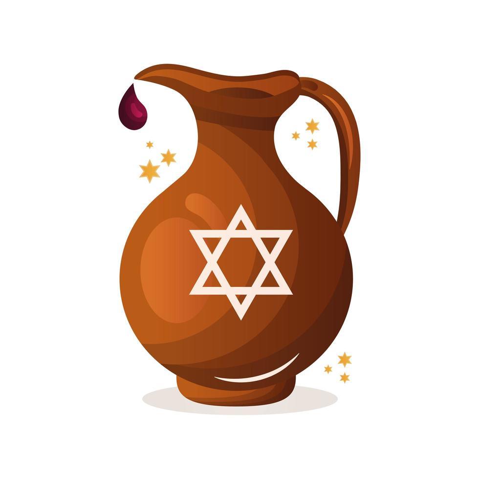 théière avec icône de célébration de hanoucca vecteur