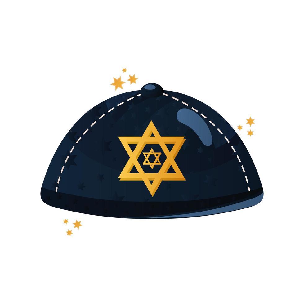 chapeau juif avec icône traditionnelle de célébration de hanoucca étoile vecteur