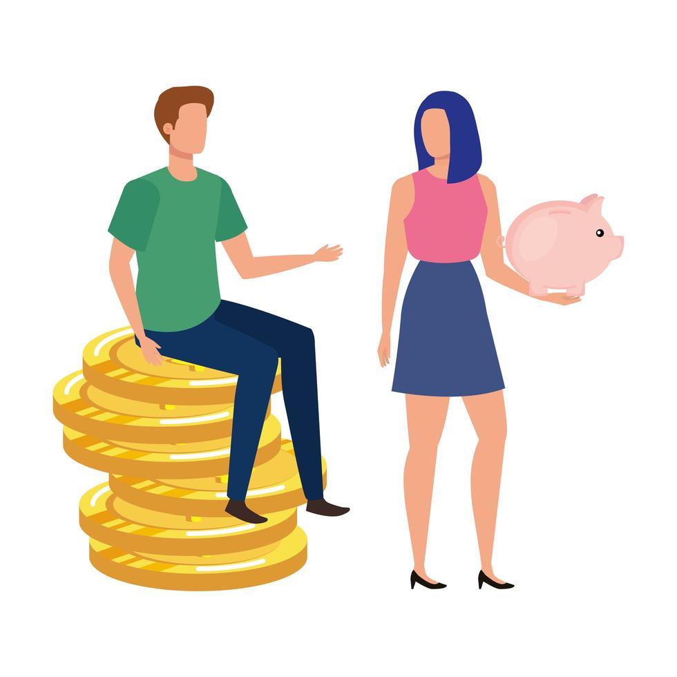 jeune couple avec des pièces de monnaie et des économies de cochon vecteur