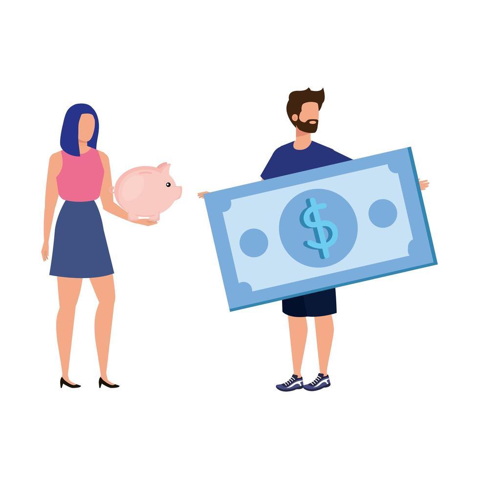 jeune couple avec factures et personnages piggy vecteur