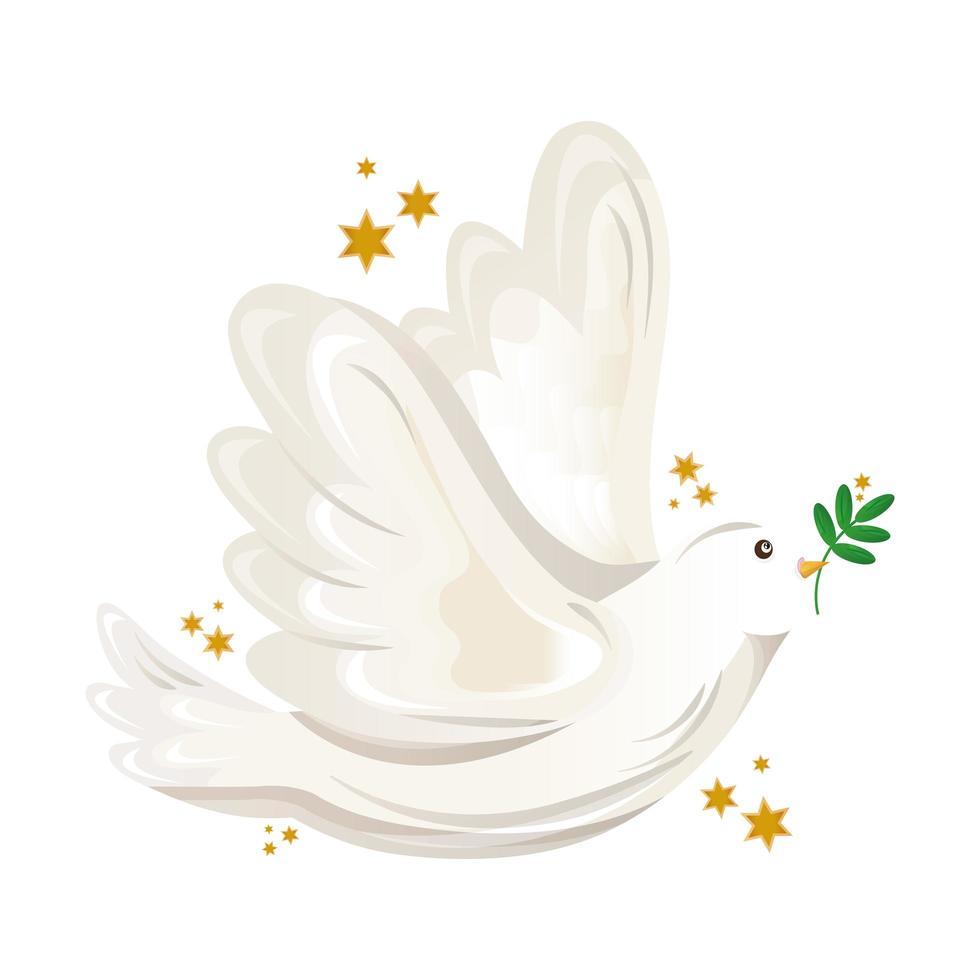 colombe de la paix volant avec une branche d'olivier vecteur