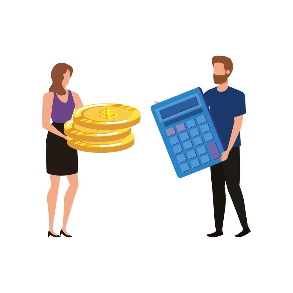 jeune couple avec pièces de monnaie et calculatrice vecteur