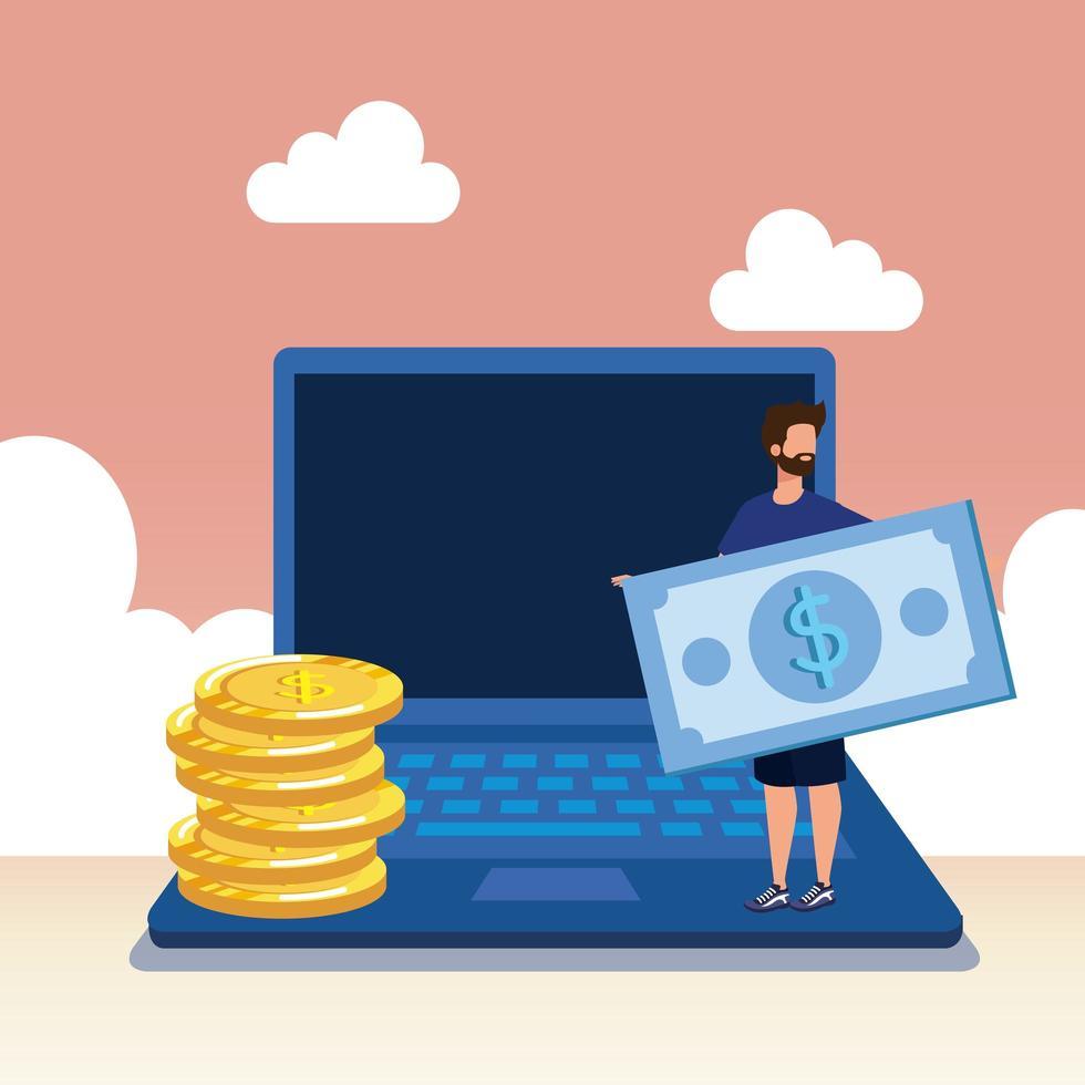 jeune homme avec ordinateur portable et argent vecteur