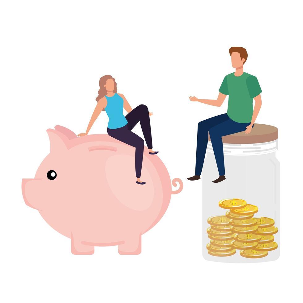 jeune couple, à, pièces, argent, dans, pot mason, et, piggy vecteur