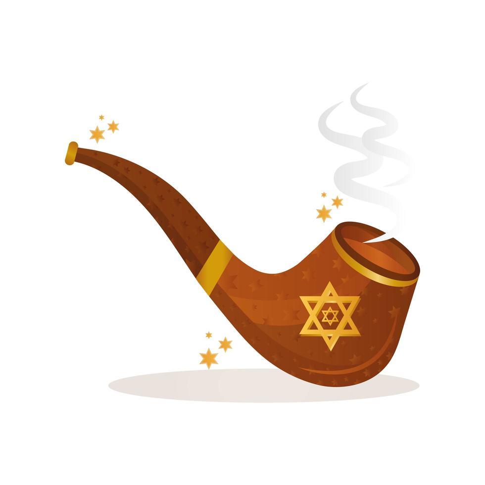 Pipe en bois de Hanoukka avec icône de célébration étoile juive vecteur