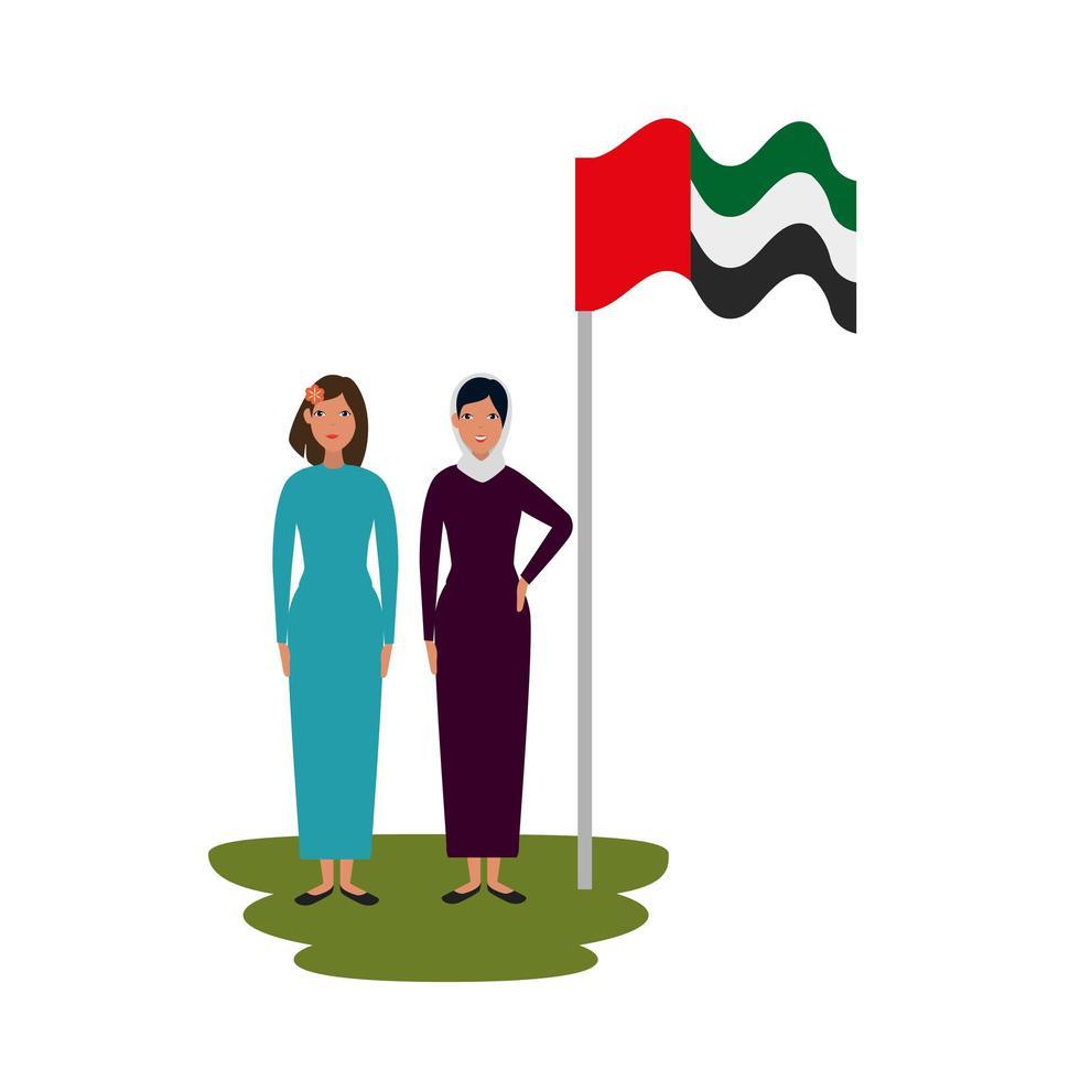 femmes islamiques avec drapeau burka et arabie traditionnel en pole vecteur