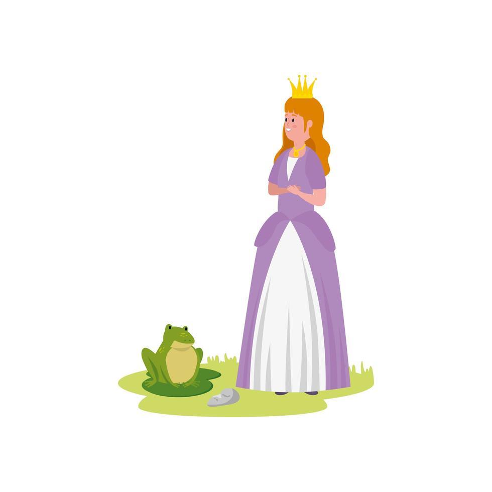 beau conte de fées princesse avec crapaud vecteur