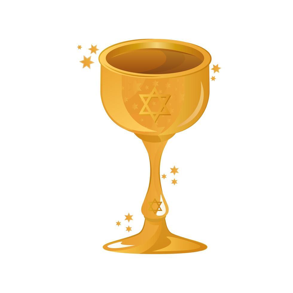 Calice avec icône de célébration de hanoucca étoile juive vecteur
