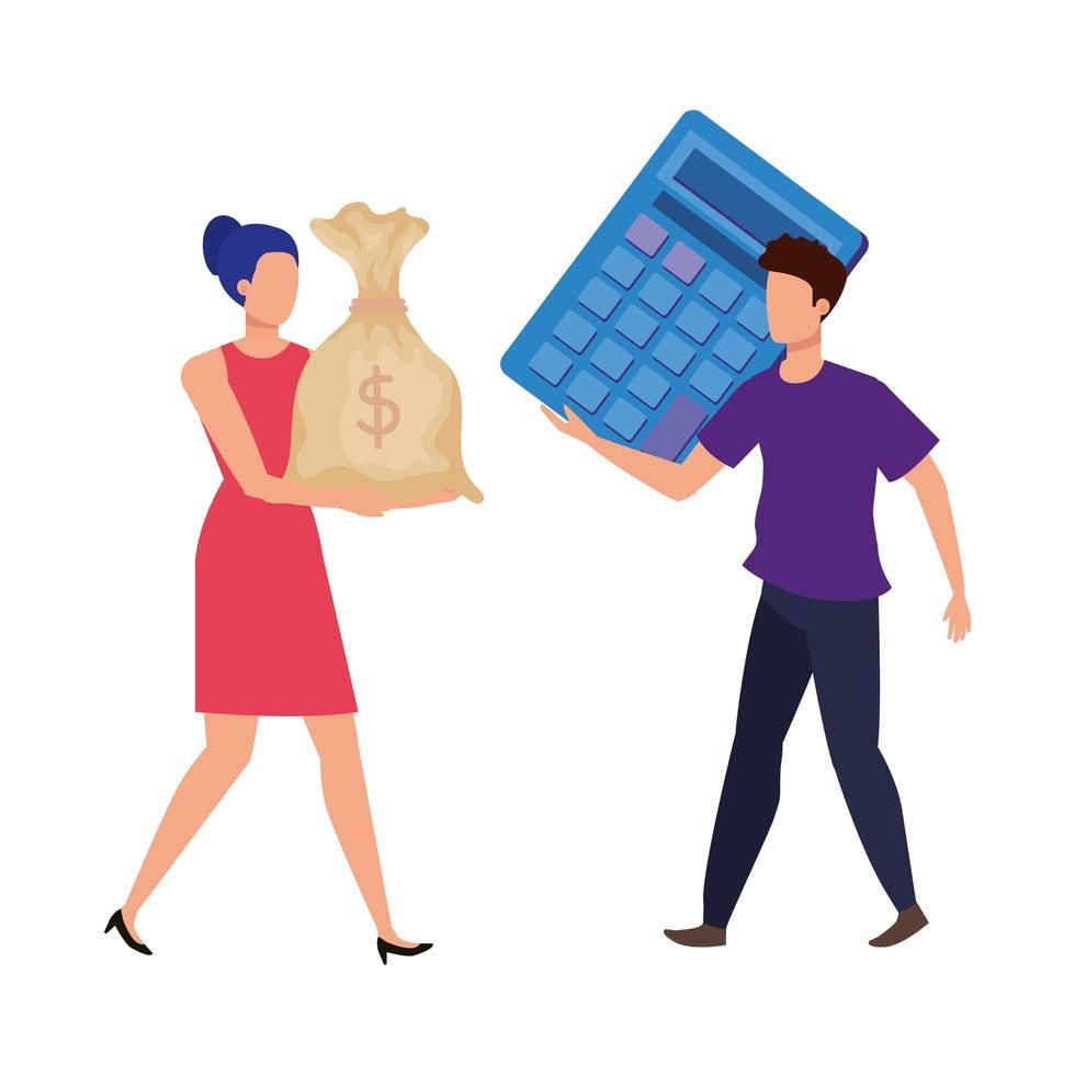 jeune couple avec calculatrice et personnages de sac vecteur