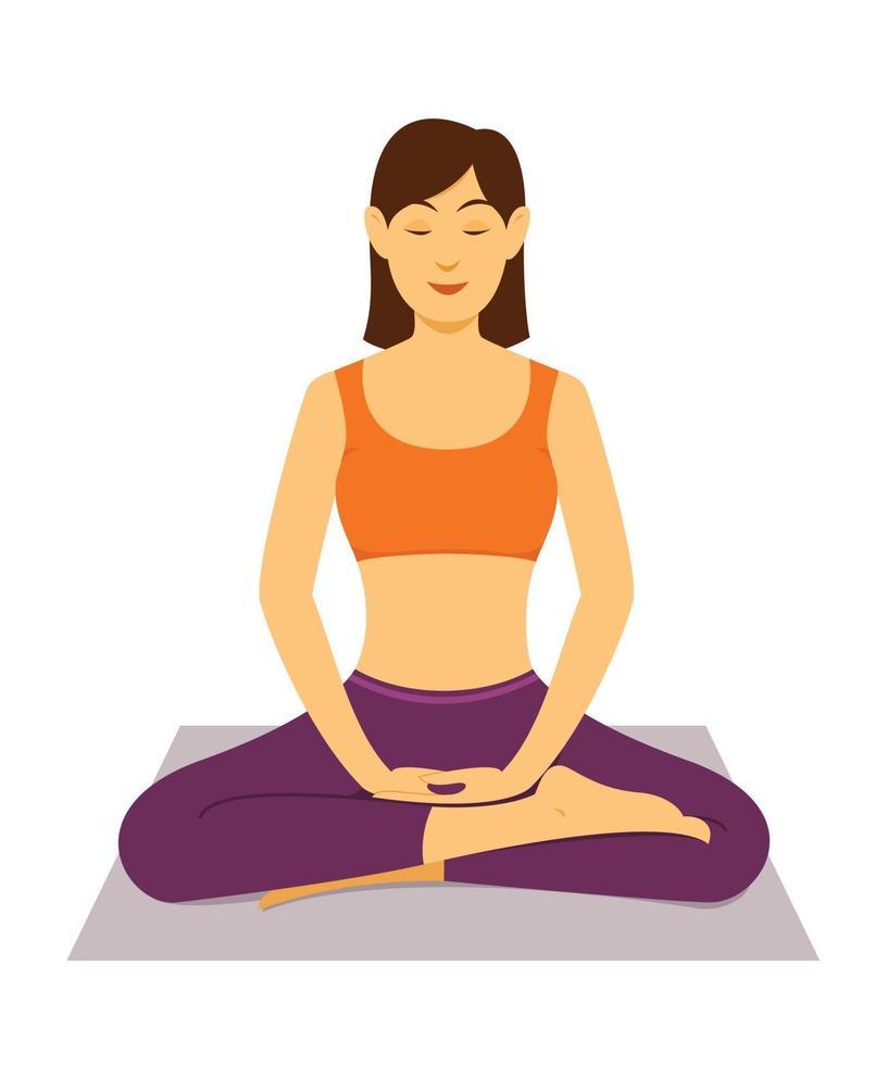 femme séance d'entraînement yoga méditation. vecteur