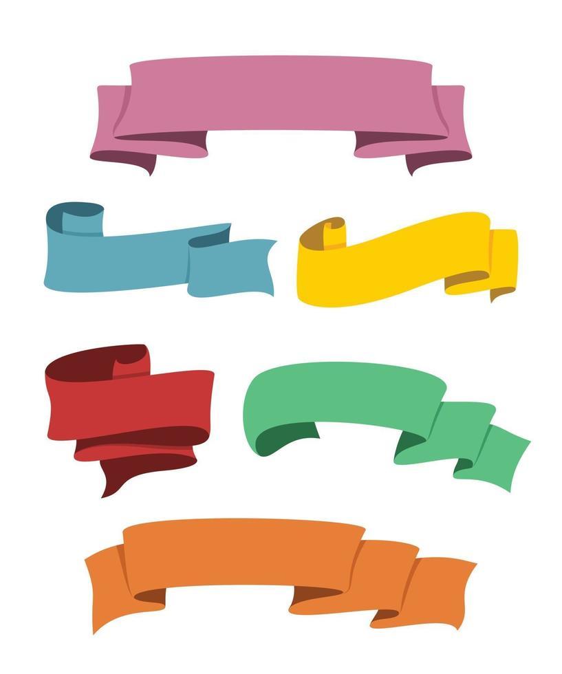 six styles de rubans de couleur pour la décoration. vecteur