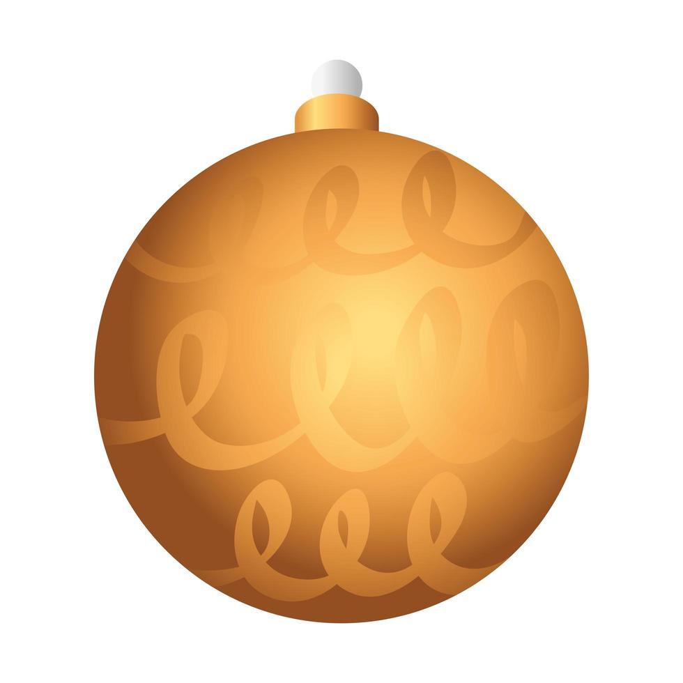 icône de décoration joyeux noël boule dorée vecteur