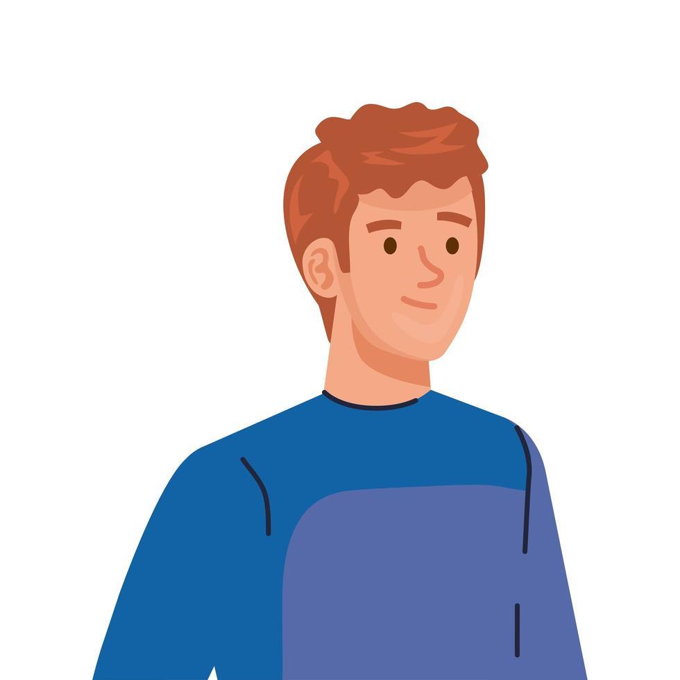 jeune homme, porter, manteau bleu hiver, caractère vecteur