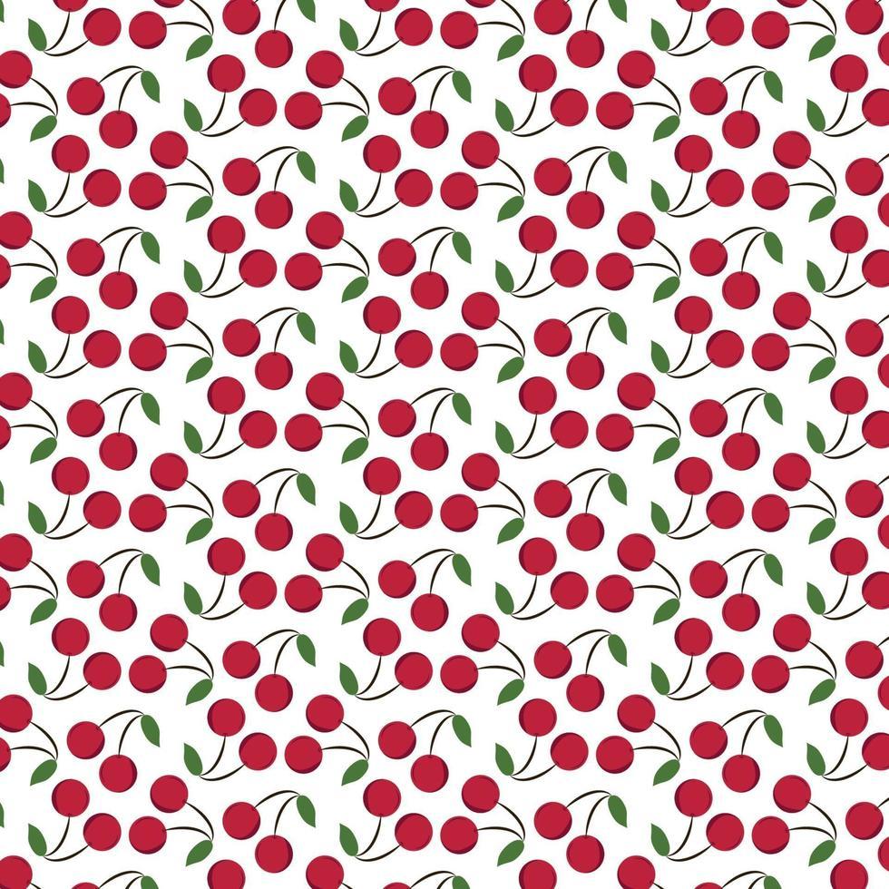 cerises rouges avec motif de feuilles vertes vecteur