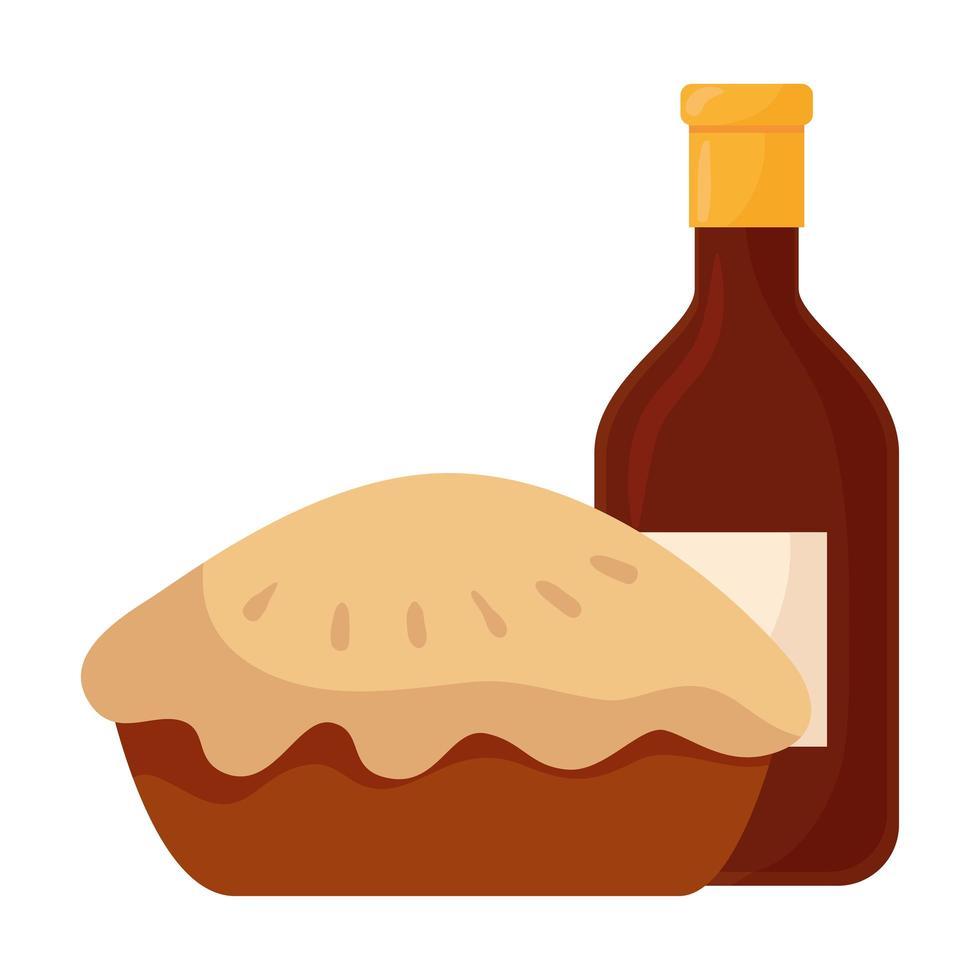 Thanksgiving délicieuse tarte sucrée avec une bouteille de vin vecteur