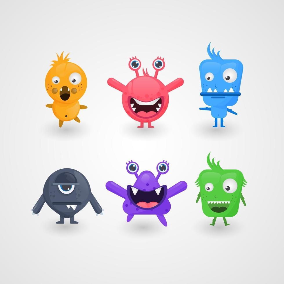 collection de conception de monstres de dessin animé mignon vecteur