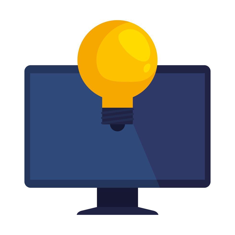 appareil informatique de bureau avec ampoule vecteur