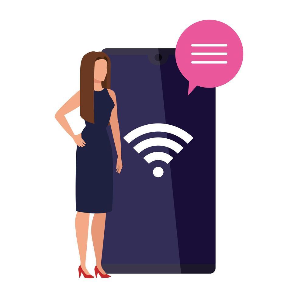 femme d'affaires élégante avec signal smartphone et wifi vecteur
