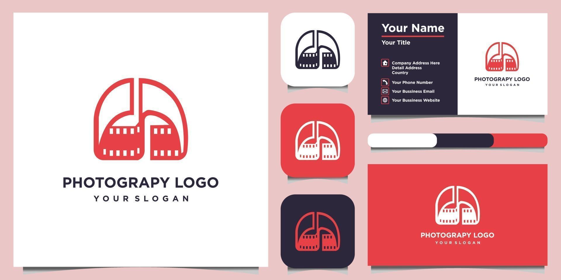 modèles de conception de logo photograpy combinés lettre d et carte de visite vecteur