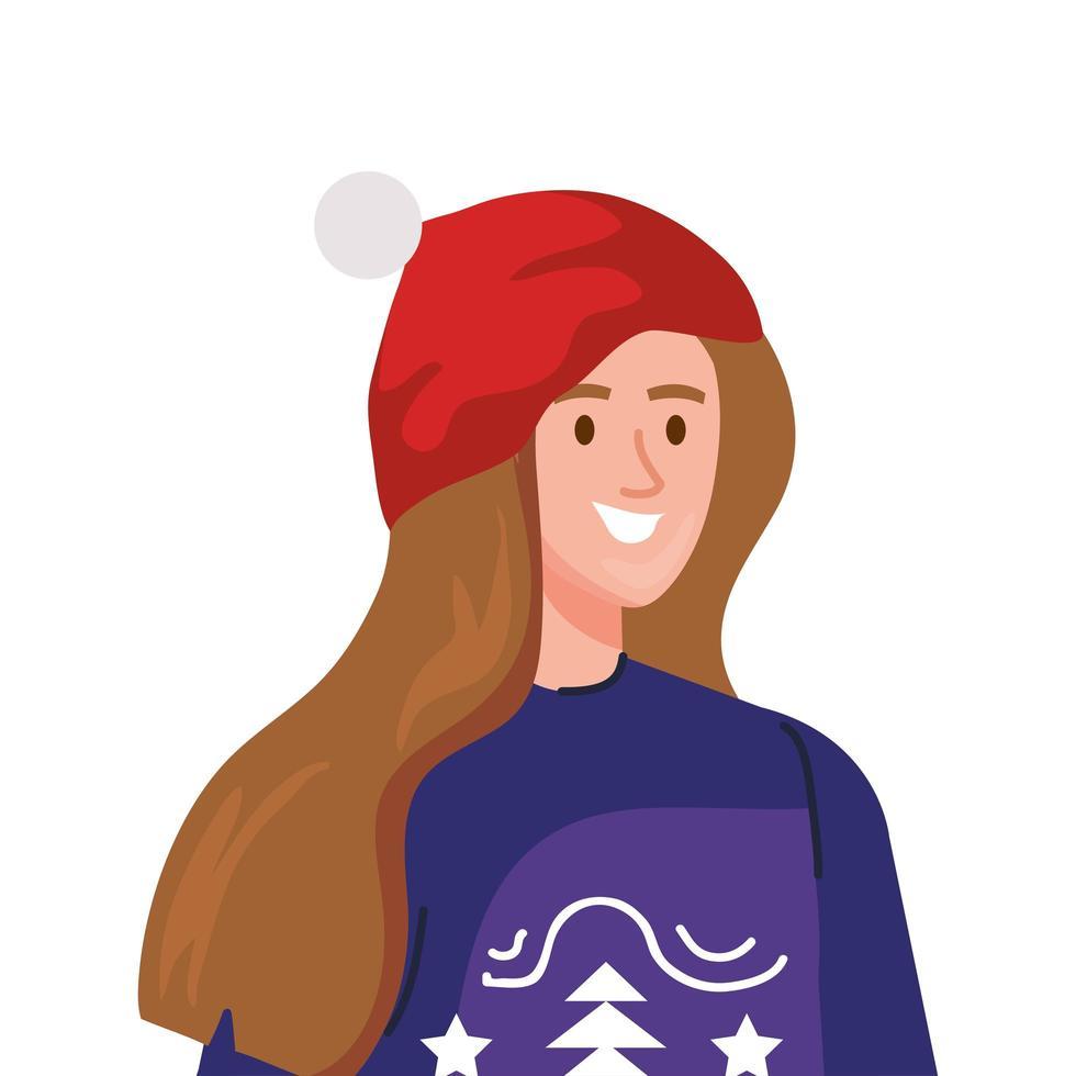 jeune femme, porter, manteau hiver, et, chapeau, caractère vecteur