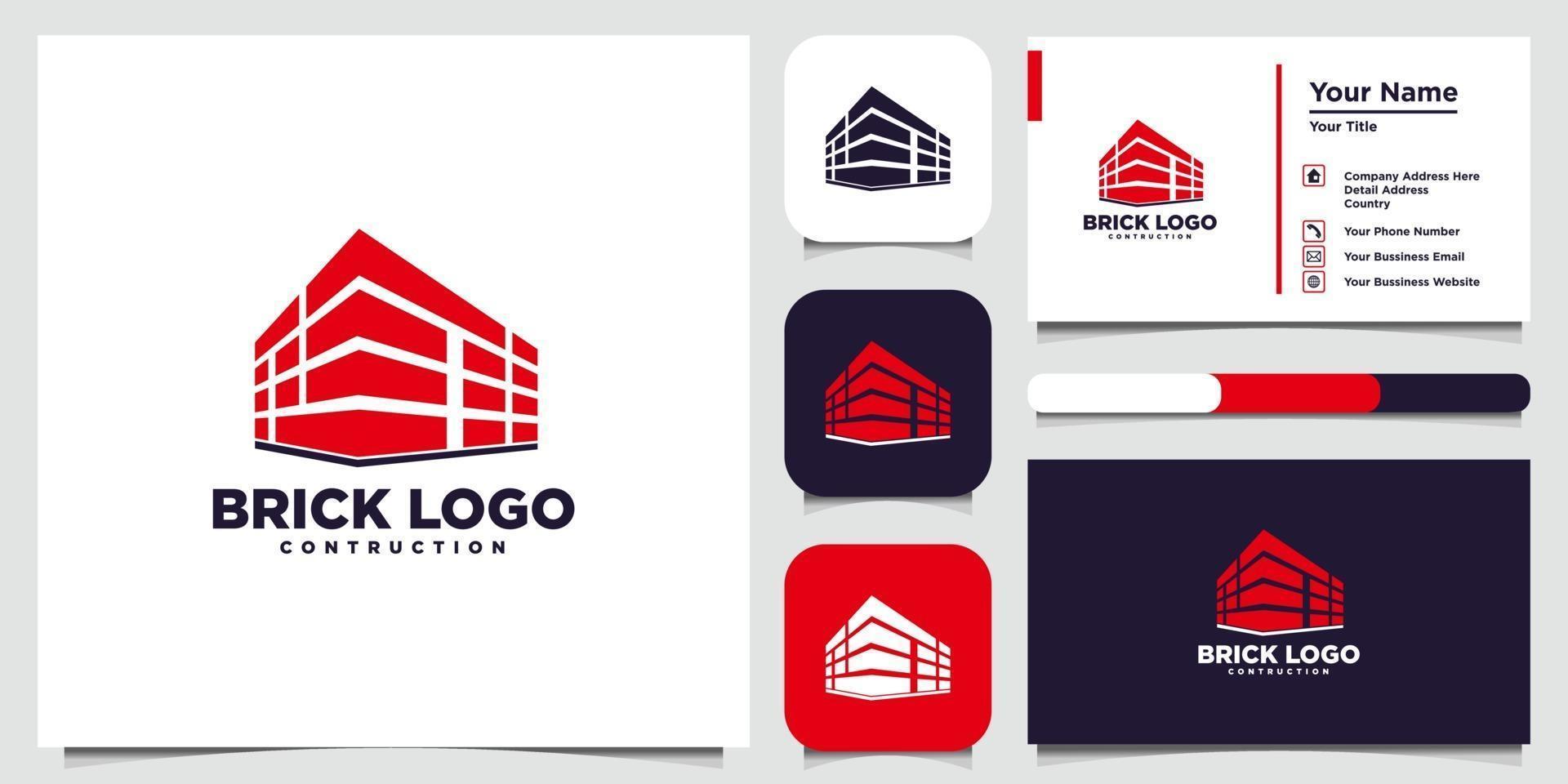 modèles de logo de brique et carte de visite vecteur
