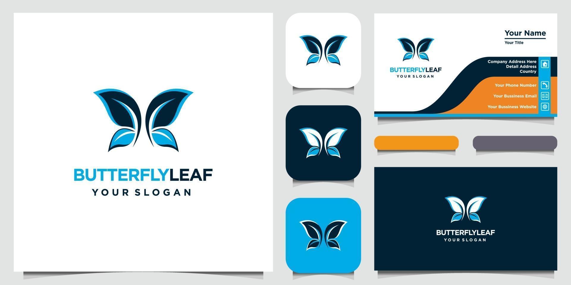 élégant logo papillon feuille et symbole avec style art et carte de visite vecteur