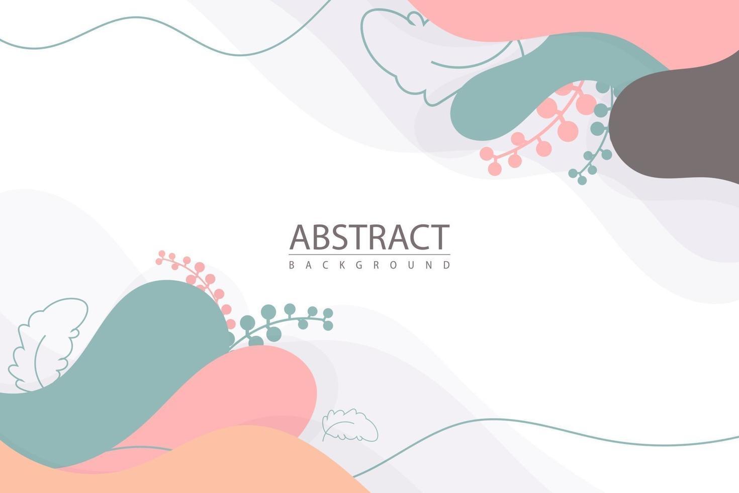formes abstraites de fond coloré avec des plantes vecteur