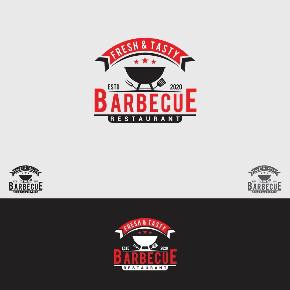 modèle de conception de logo barbecue vecteur