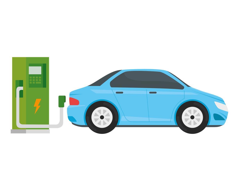 Station de service d'écologie électrique avec voiture bleu clair vecteur