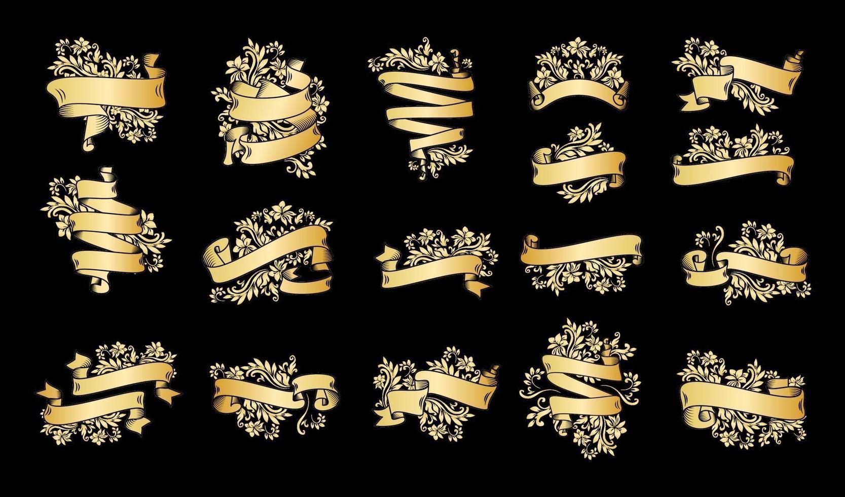 bannières de ruban vintage or sur fond noir vecteur
