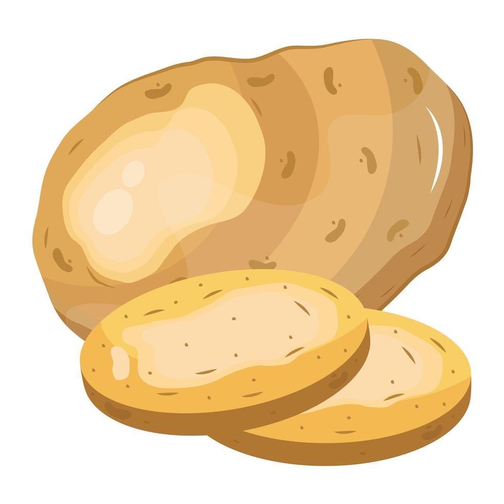 icône de nourriture saine de pommes de terre de légumes frais vecteur