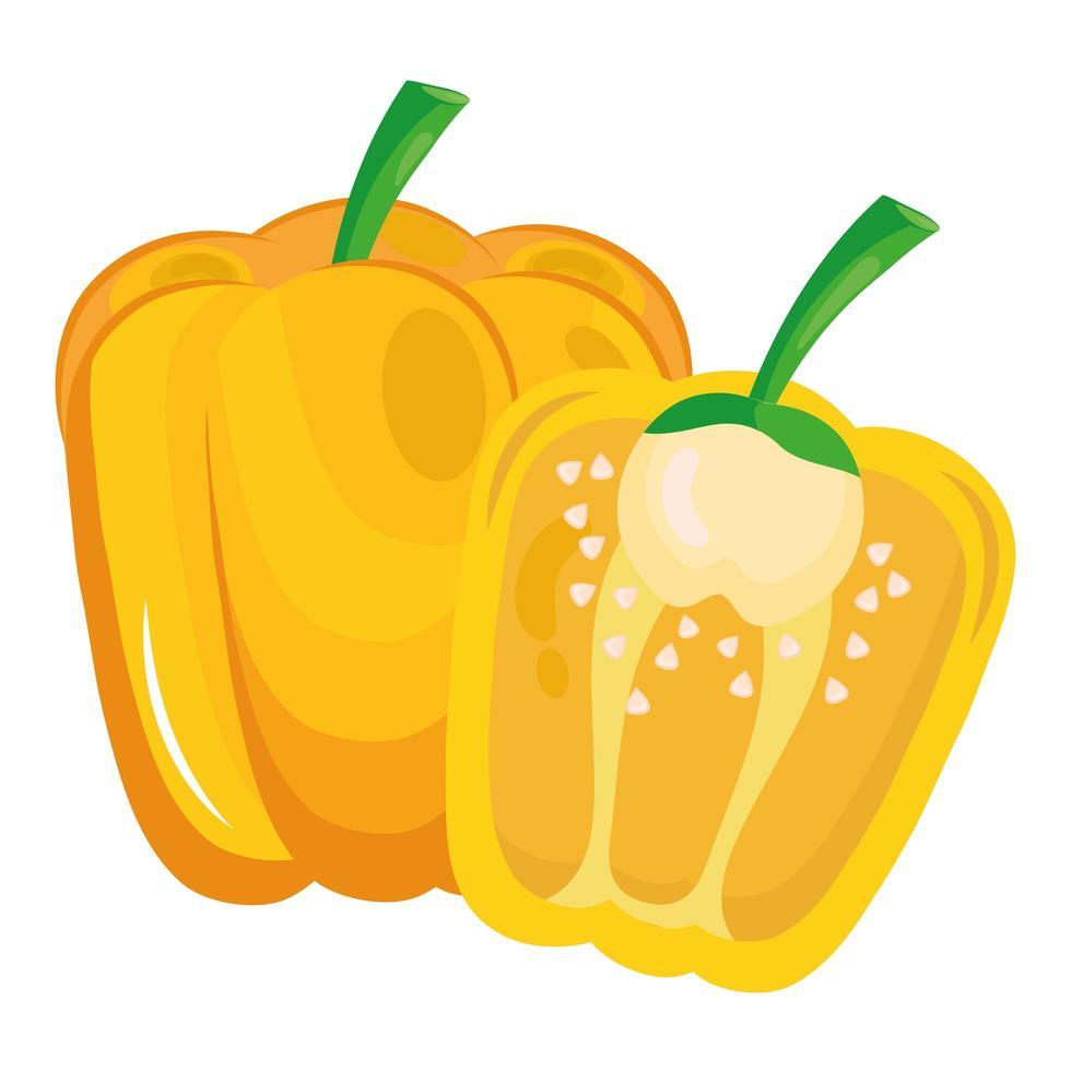 icône de nourriture saine de légumes frais poivron jaune vecteur